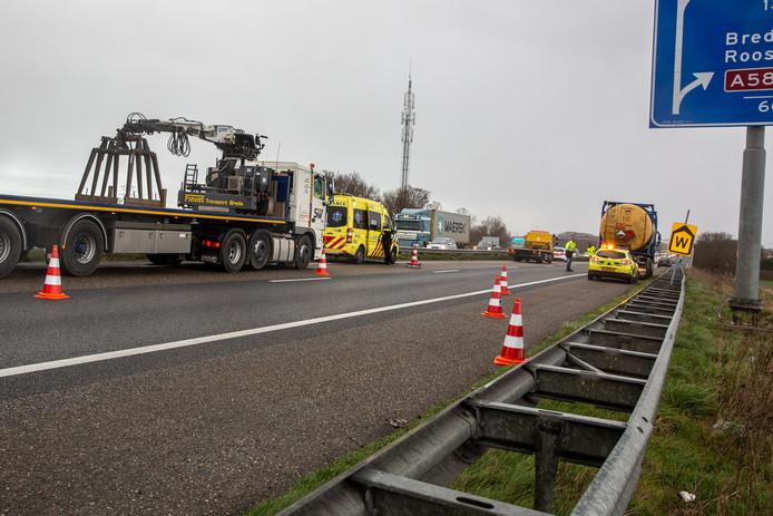 Ongeval op A58 bij Roosendaal
