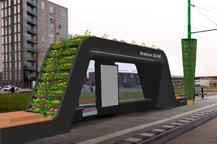 Impressie van de nieuwe groene bushalte bij station Arnhem-Zuid.