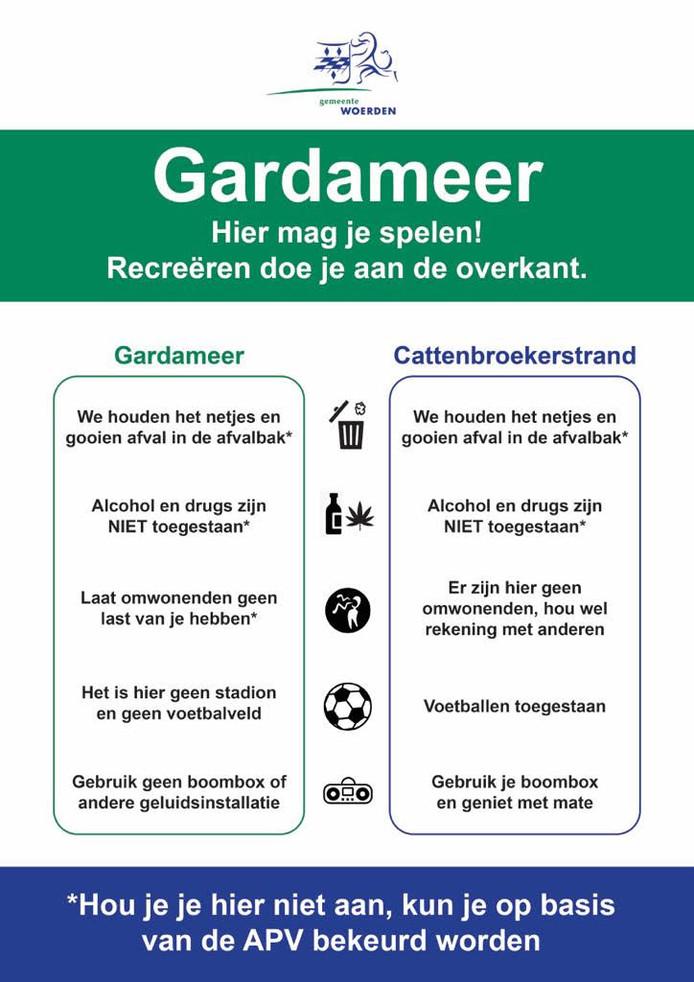 De tekst voor het bord dat in ontwikkeling is voor de groenstrook langs de Cattenbroekerplas