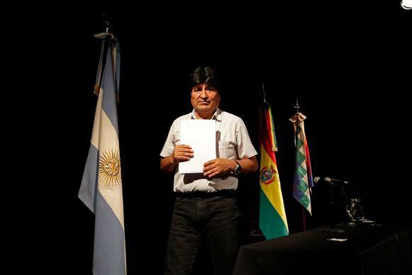Evo Morales geeft een persconferentie in Argentinië.