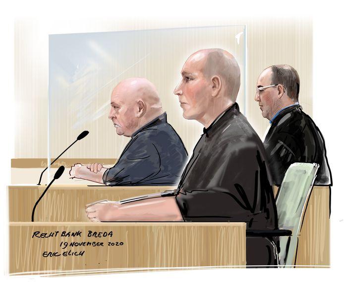 Rechtbanktekening, links de twee verdachten.