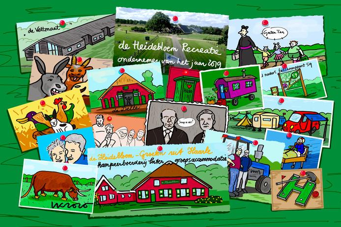Haarlenaar Leo Kemper maakte een cartoon voor de winnaars van de ondernemersprijs van de HOV, waarin de roemruchte geschiedenis van het recreatiebedrijf De Heidebloem centraal staat.
