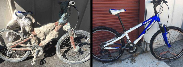 Een van de achtergelaten fietsen voor en nadat Kiihne ze opknapte. Beeld Rv