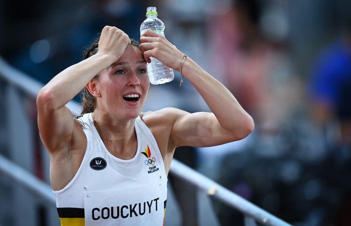 Paulien Couckuyt juicht na haar nationaal record op de 400m horden.