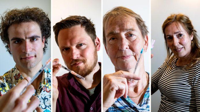 Roger van Seeters, Niek Schenkeveld, Els Jonker en Susan Rijpkema (vlnr) kun je tegenkomen in  de vaccinatielocaties van GGD IJsselland.