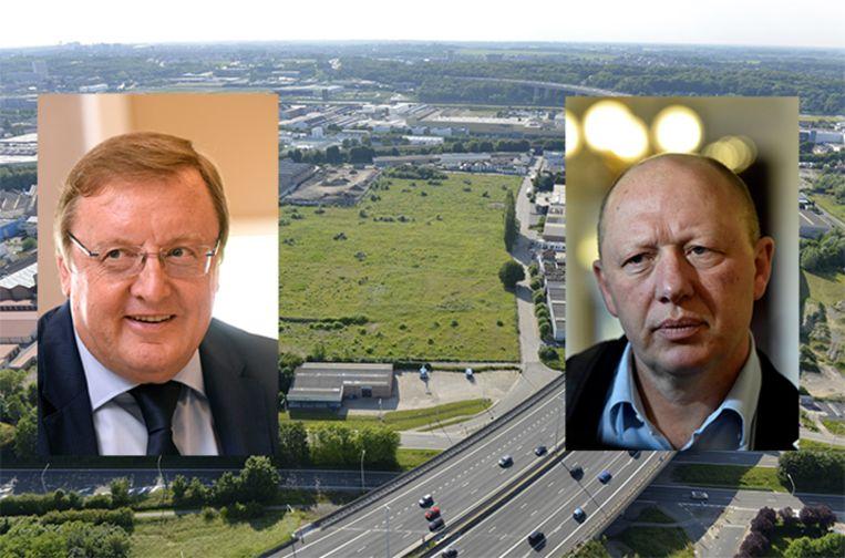 Jean-Pierre De Groef (sp.a) (l) is het voorstel van partijgenoot en Vilvoords burgemeester Hans Bonte om een bos aan te planten op de site helemaal niet genegen. Beeld Photonews
