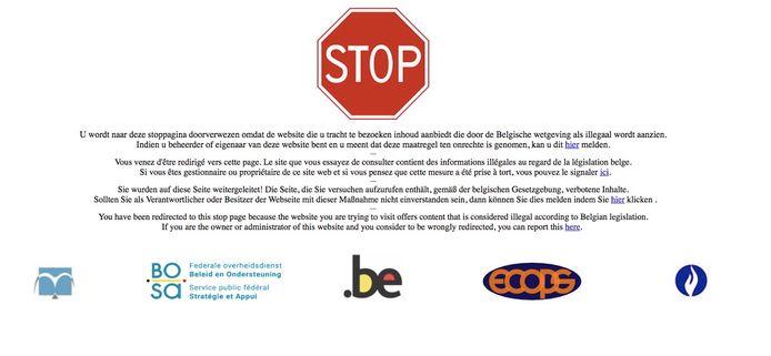 """Un pictogramme """"STOP"""" et un message d'avertissement accueillent maintenant les visiteurs qui tentent d'accéder au site"""