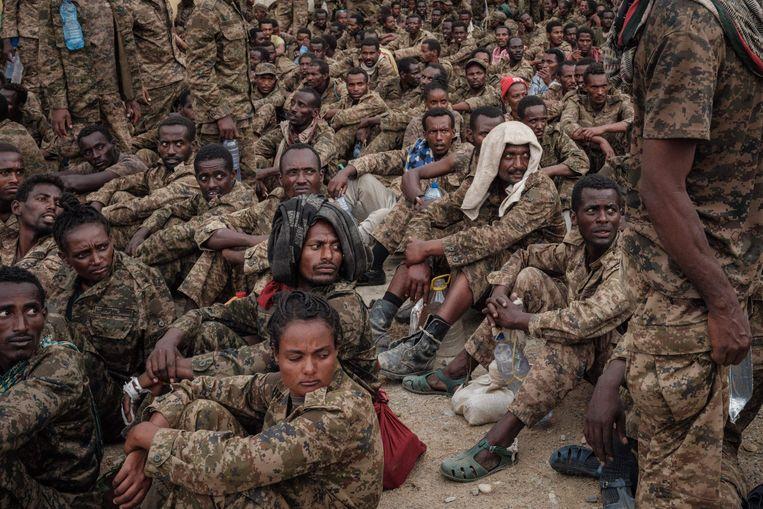 Door Tigrayese milities gevangen genomen Ethiopische soldaten in Mekele, de hoofdstad van Tigray begin juli. Beeld AFP