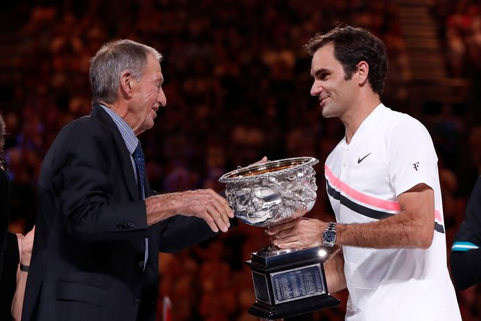 Roger Federer wint de Australian Open in 2018.