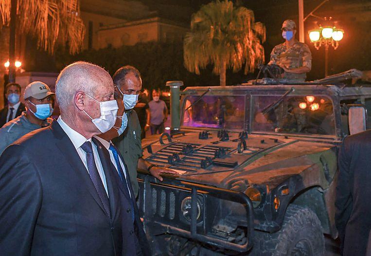 De Tunesische president Kais Saied, nadat hij zijn premier ontsloeg en het parlement schorste voor dertig dagen.  Beeld AFP