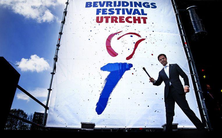 Premier Rutte op het Bevrijdingsfestival van 2013 Beeld anp