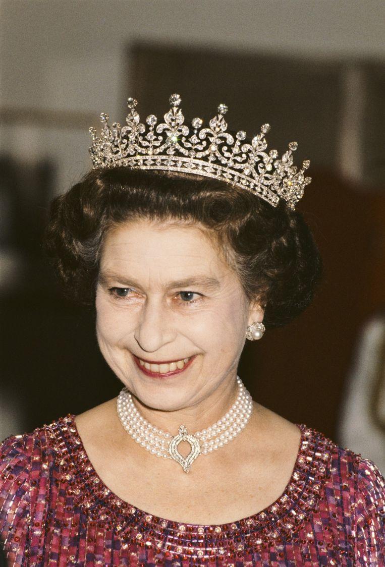 Koningin Elizabeth tijdens haar bezoek aan Bangladesh in 1983: Beeld Getty Images