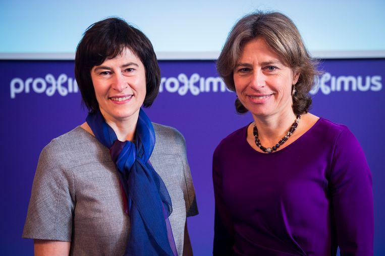 Proximus-CFO Sandrine Dufour naast toenmalig CEO Dominique Leroy. Dufour is een van de favorieten om de nieuwe CEO te worden. Beeld BELGA