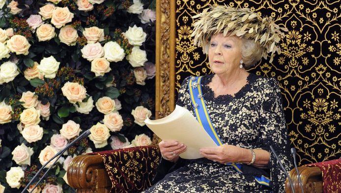 Koningin Beatrix dinsdag bij het voorlezen van de Troonrede.