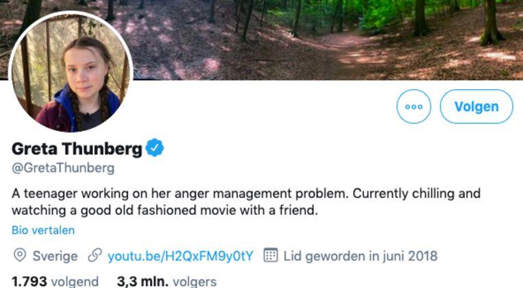 De aangepaste biografie van Greta Thunberg op Twitter. Beeld Screenshot Twitter