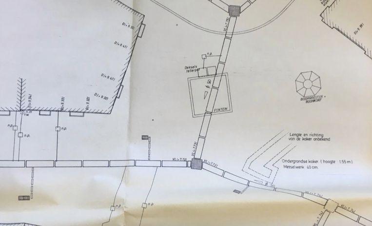 Volgens deze speurders ligt het paneel in een koker onder de Kalandeberg, ten zuiden van de fontein. Beeld KOS