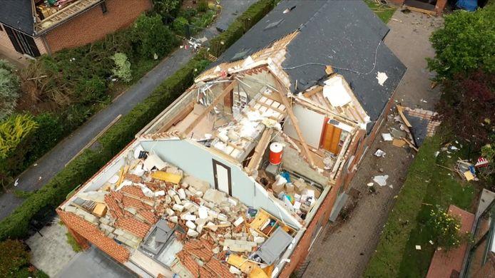 Luchtbeelden ravage Beauraing na kleine tornado