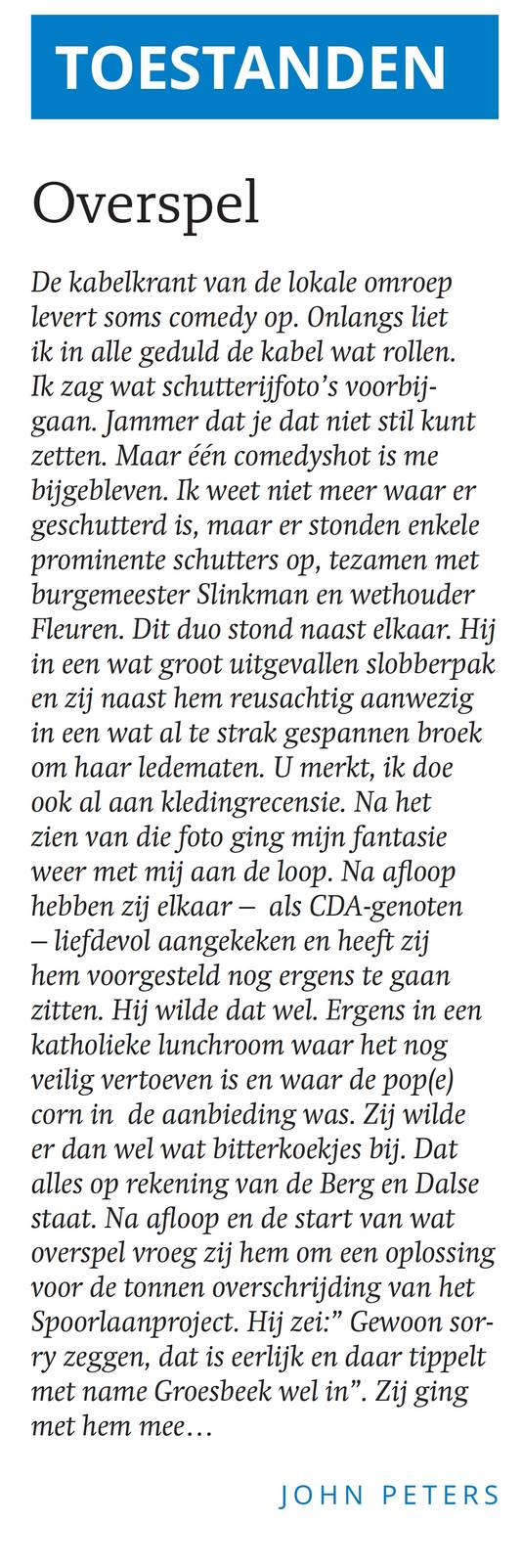 De column van John Peters in de uitgave van weekblad Via Groesbeek van 26 september 2018.