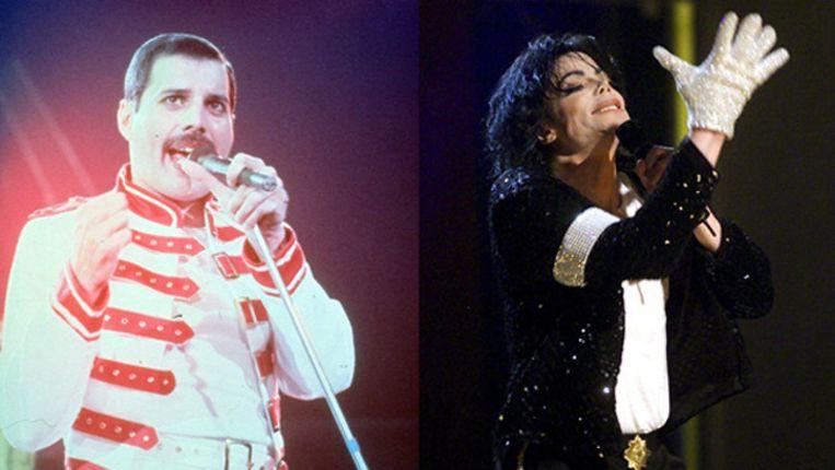 Freddie Mercury (links) en Michael Jackson. Beeld ANP Kippa en EPA