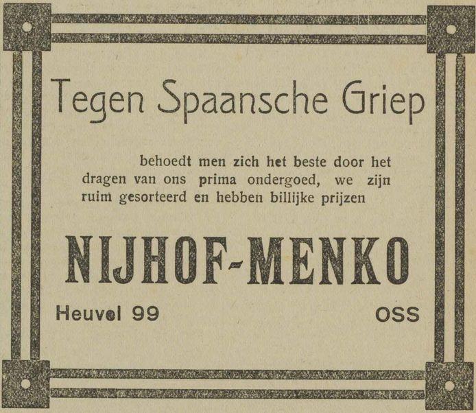Advertentie voor ondergoed als beste bescherming tegen de Spaanse griep (1918)