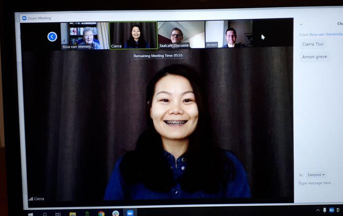 Cierra Tsui, deelnemer van het taalcafé.