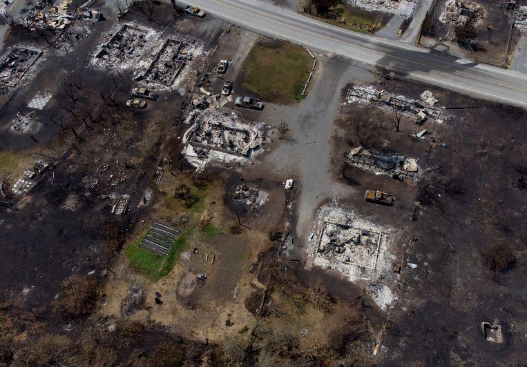 Het plaatsje Lytton werd nagenoeg volledig in de as gelegd na de natuurbranden van 30 juni. Beeld AP