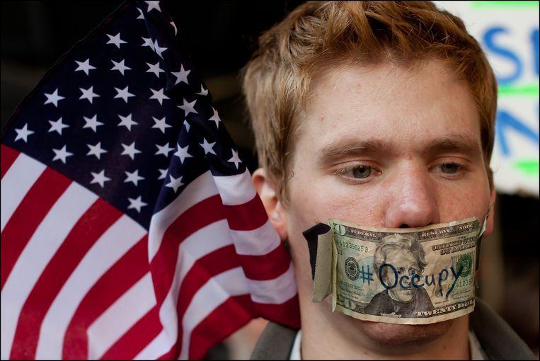Het Occupy Wall Street protest, tegen de exuberante bonussencultuur. Beeld Photo News