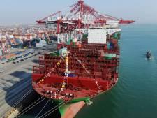 Grootste containerschip arriveert in Rotterdam