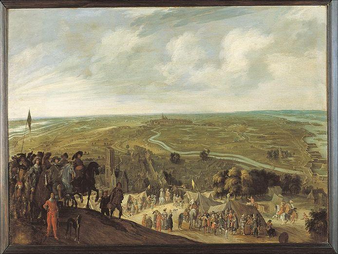 Een van de vier schilderijen van het beleg van Den Bosch vanuit Vught. Bouwsteen voor Panorama Vught 1629