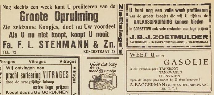 Een advertentie van de firma A. Baggerman in het Zaltbommelsch Nieuws- en Advertentieblad uit 1937.