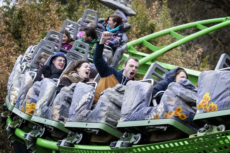 Attractiepark Hellendoorn was afgelopen weekend beperkt open voor publiek, als onderdeel van de pilots Testen voor Toegang. Beeld EPA