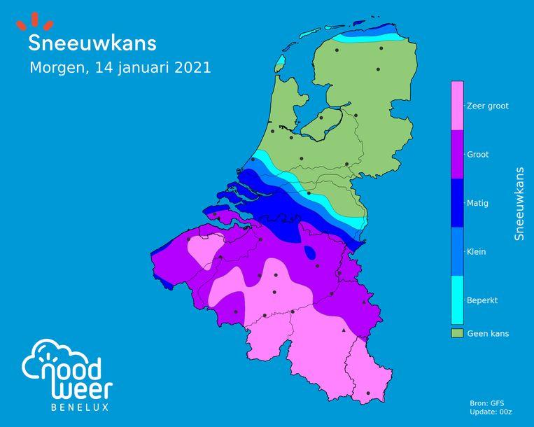 De sneeuwkans op donderdag is groot in veel regio's van ons land. Beeld Noodweerbenelux
