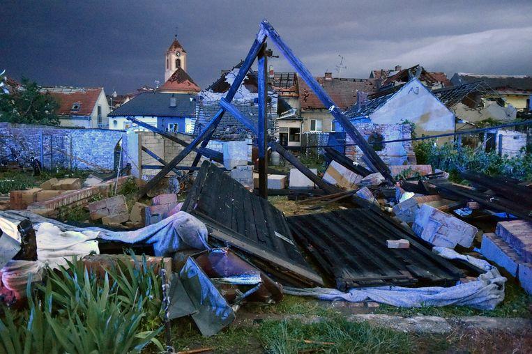Ravage in het Tsjechische dorpje Moravska Nova Ves.  Beeld AP
