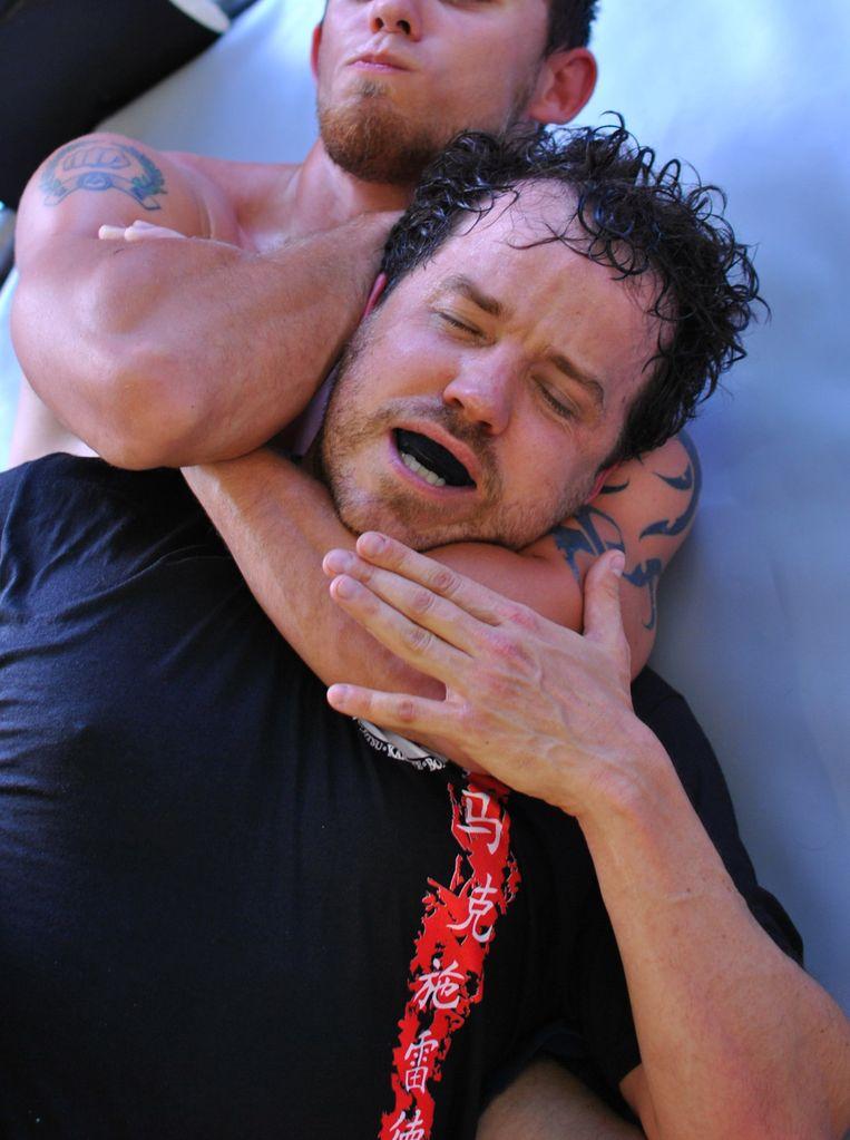 Jonathan Gottschall met sparring partner. Beeld Mark Shrader