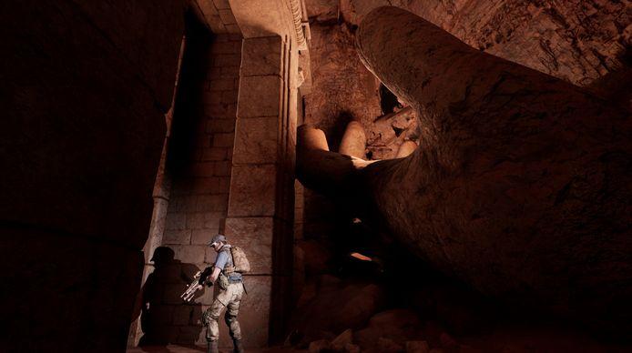 Je komt terecht in een grot die een Akkadische tempel huisvest.