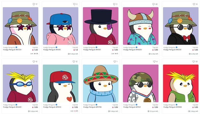 Screenshot van de online marktplaats OpenSea, waar de volledige collectie Pudgy Penguins verhandeld wordt.