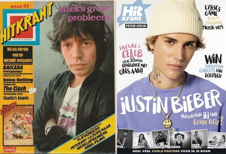 Een Hitkrant uit 1977 en de laatste editie. Beeld