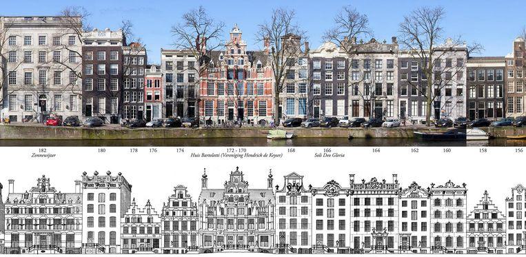 Herengracht. Boven de panoramafoto van Erwin Meijers, onder de tekening die Caspar Jacobsz Philips 249 jaar geleden maakte van de locatie Beeld Erwin Meijers