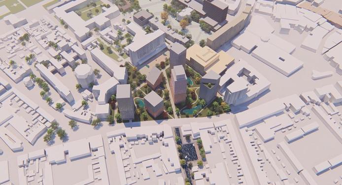 020fa5698e9 Koopvaardijstraat met water, het Koningsplein met woontorens en op de  achtergrond het nieuwe Stadskwartier als