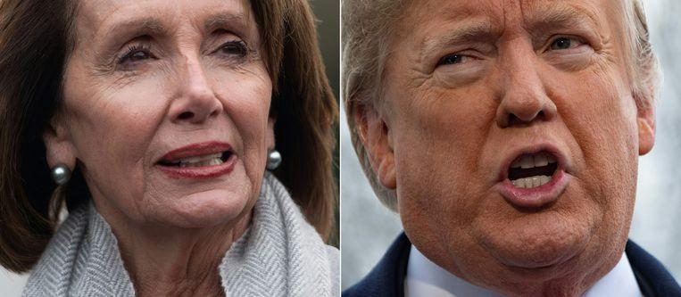 Huisvoorzitter Nancy Pelosi (Democraten, links) en Amerikaans president Donald Trump (Republikeinen, rechts) blijven een politiek steekspel spelen. Beeld AFP