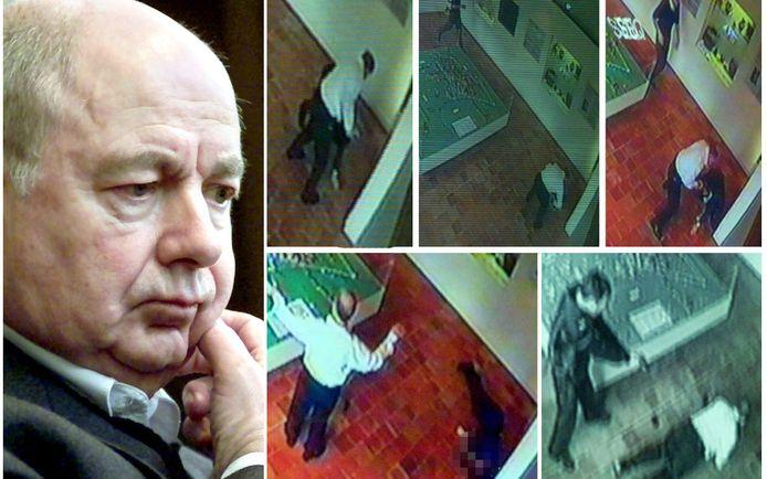 De moord kon perfect worden gereconstrueerd aan de hand van de beelden van de bewakingscamera's in het museum waar het slachtoffer werkte.