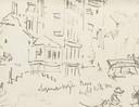 Een schets van Turner waarop het Groothoofd duidelijk te herkennen is. Plus de tekst 'logement wijn bier'.