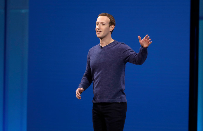 Facebook CEO Mark Zuckerberg tijdens de F8