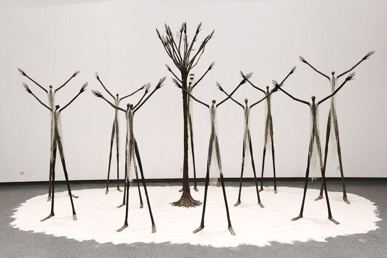 Werk uit de tentoonstelling in het Museum voor de Zwarte Beschaving in Dakar. Beeld AFP
