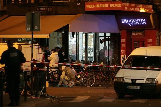 Politie-onderzoek aan bar 'La Belle Equipe' waar 18 mensen werden doodgeschoten.