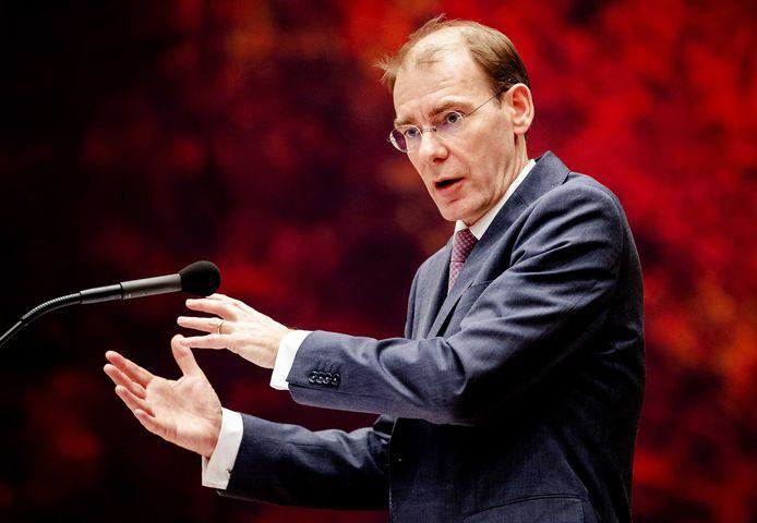 Staatssecretaris Menno Snel van Financiën tijdens het debat vandaag