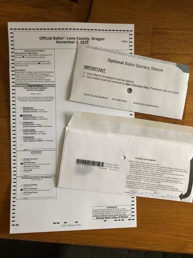 Harrie van Zee is Amerikaans staatsburger en mag stemmen voor de presidentsverkiezingen in de VS. Dit zijn zijn papieren daarvoor.
