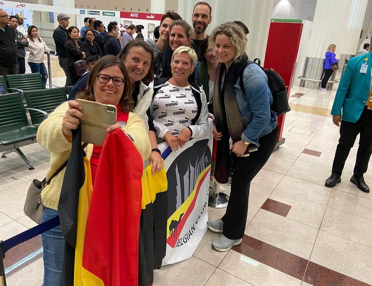Clijsters bij haar aankomst in Dubai.