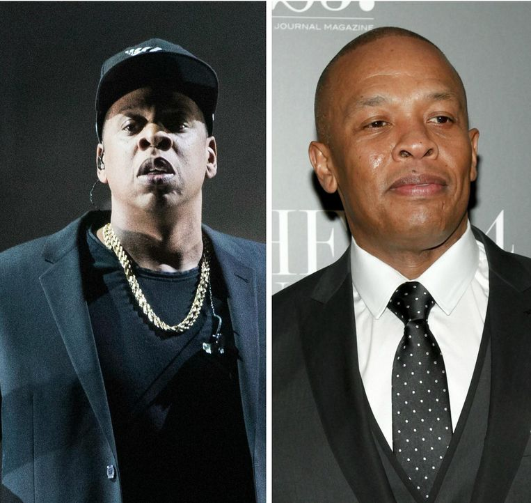 Jay Z(links)en Dr.Dre vervolledigen de top 3. Beeld ap