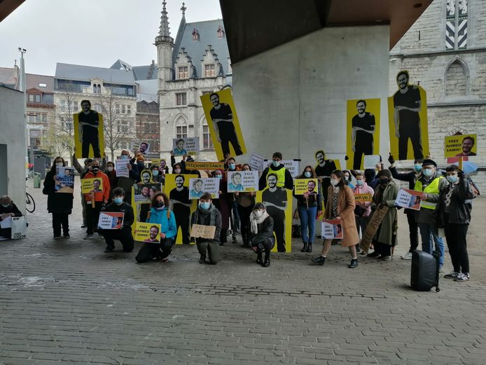 Manifestanten voor Ahmed Samir.